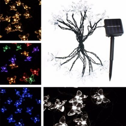 Solar Colorful Butterfly String 20 LED Fairy Lights Party Tree Decor
