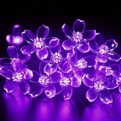 Solar Colorful Flower String 50 LED Fairy Lights Party Outdoor Holiday Decoration