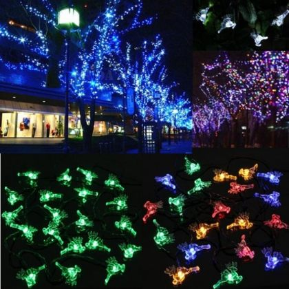 Solar Colorful Small Deer String Fairy Lights 20 LED Party Tree Decor