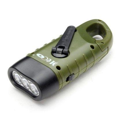 Hand Crank Dynamo Solar Flashlight for Camping