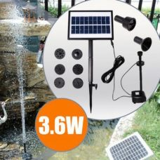 Solar Fountain with 9V Brushless Water Pump Built-In Battery and LED Light for Garden Landscape Home