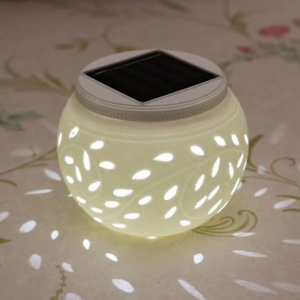 Indoor solar light Ceramic Color Changing Solar Table Lamp suitable for Garden