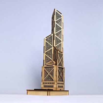 Solar 3D Wooden Puzzle DIY Educational Toy - Bank of China Tower model