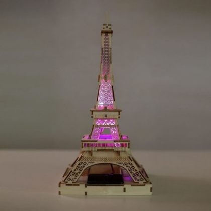Solar 3D Wooden Puzzle DIY Educational Toy – Eiffel Tower assembly model