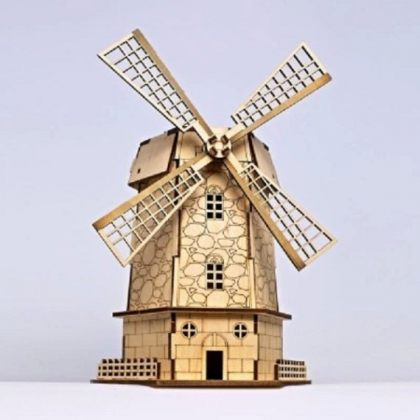 Solar 3D Wooden Puzzle DIY Educational Toy – Holland Windmill model