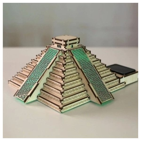 Solar 3D Wooden Puzzle DIY Educational Toy – Pyramid of Maya model
