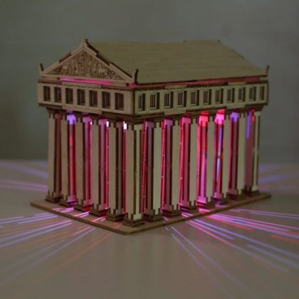 Solar 3D Wooden Puzzle DIY Educational Toy – Temple of Zeus assembly model