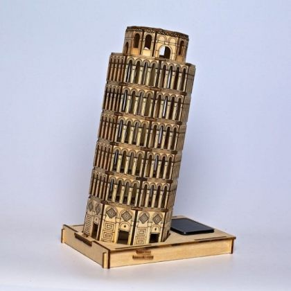Solar 3D Wooden Puzzle DIY Educational Toy – Tower of Pisa assembly model