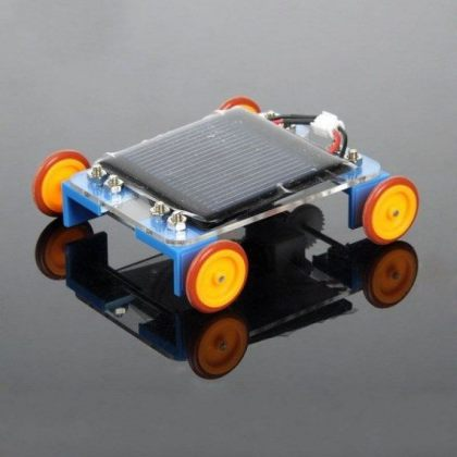 Solar Power Car with Yellow Wheel DIY educational toy