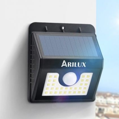 Bright Solar 30 LED security wall light with PIR Motion Sensor