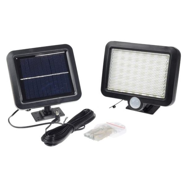 Ultra-Bright 56 LED Solar Flood Light with Security PIR motion sensor and wall mount