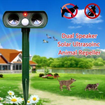Dual speaker Ultrasonic Solar animal repeller with PIR Sensor