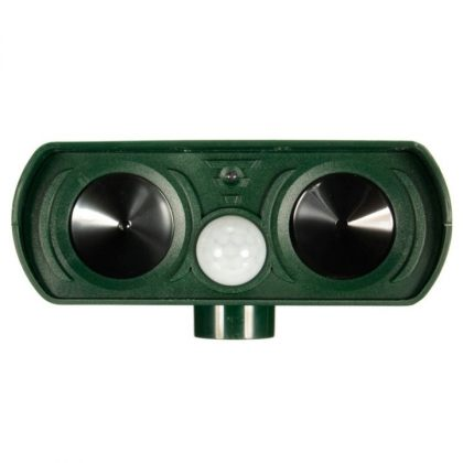 Dual speaker Ultrasonic Solar animal repeller with PIR Sensor