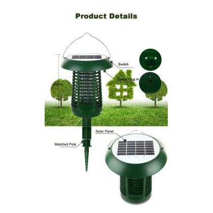 Solar bug zapper 2 in 1 outdoor LED Mosquito Killer Lamp