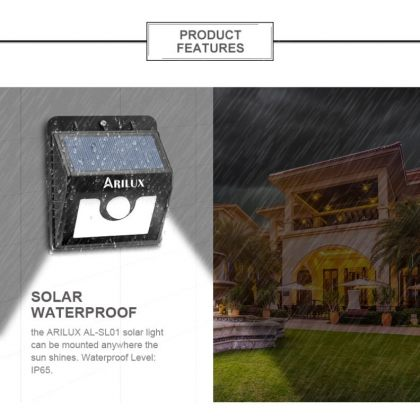 Emergency compact 1.3W 8 LED Solar PIR Motion Sensor Wall Light with Super Battery & 3 modes