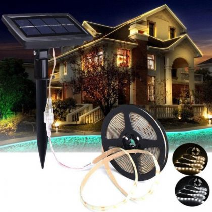 Outdoor Festive 5m Solar 150 LED Strip Fairy Light with White or Warm White lighting