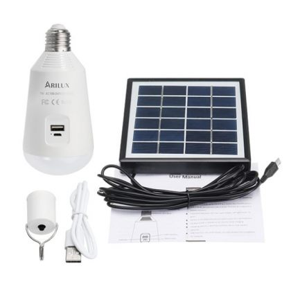 Multifunctional 7W 14 LED Solar Camping Light Bulb with USB charger