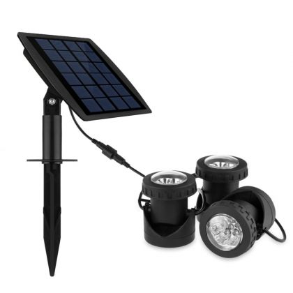 Underwater submersible LED Solar Pool Lights with triple spotlight heads