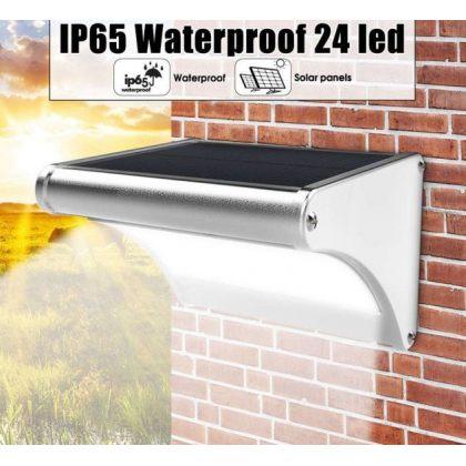 Outdoor 24 LED Solar Wall Street Lamp with Light control and PIR Sensor in Aluminium body