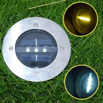 Set of Outdoor 3 LED Solar Path Lights for deck, garden lawn, landscape