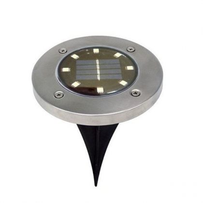 Set of Stainless Steel 8 LED Ground Solar Path Light for Deck, Driveway & Garden