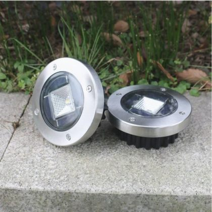 Set of Stainless Steel Buried 1W Bright Solar Path Light for Deck Garden Lawn