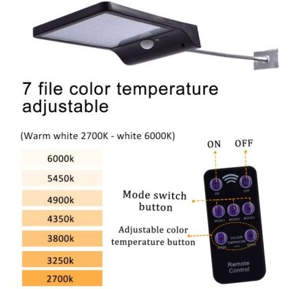 Outdoor 48 LED Security Solar street lamp with Sensor Remote Control
