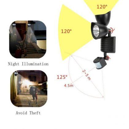 Double Head 22 LED Solar Sensor Flood Light Outdoor Security Lamp