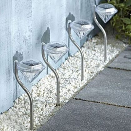 Outdoor Diamond LED Solar Path Lights for Garden Lawn Pathway Set of 4