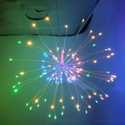 Firework 200 LED Solar Christmas Lights Decoration Starburst Hanging Garland
