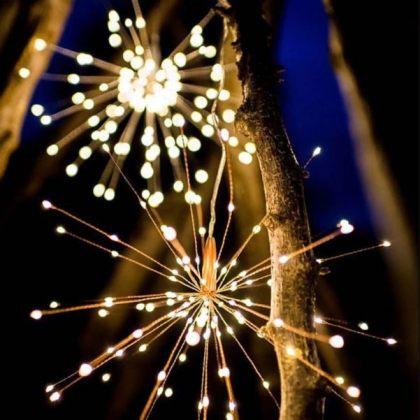 Firework 200 LED Solar Christmas Lights Decoration Starburst Hanging Garland