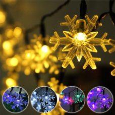 Snowflakes 20 LED Solar Christmas Lights Tree Decoration Fairy String