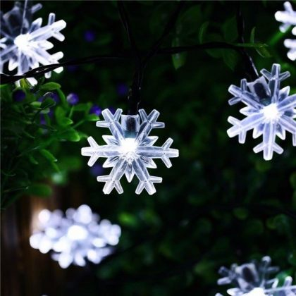 Snowflakes 20 LED Solar Christmas Lights Tree Decoration Fairy String