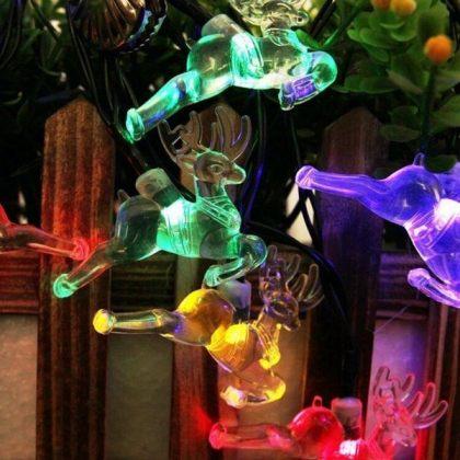 Reindeer 20 LED String Solar Xmas Tree Lights Christmas Decoration