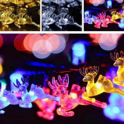 Reindeer 20 LED String Solar Xmas Tree Lights Christmas Decoration