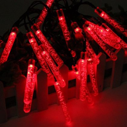 Outdoor 20 LED Bubble Solar Icicle Lights Christmas Decoration String
