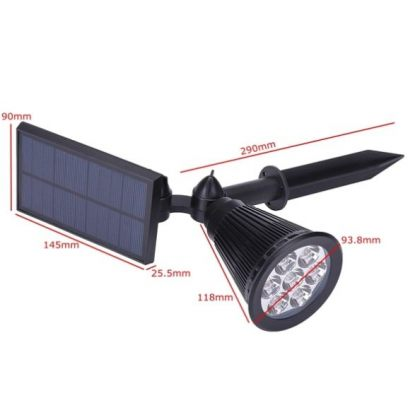 Outdoor Bright 7 LED Solar Spot Light with Universal Wall or Ground Stake Mount for Garden Lawn Tree Landscape Decoration