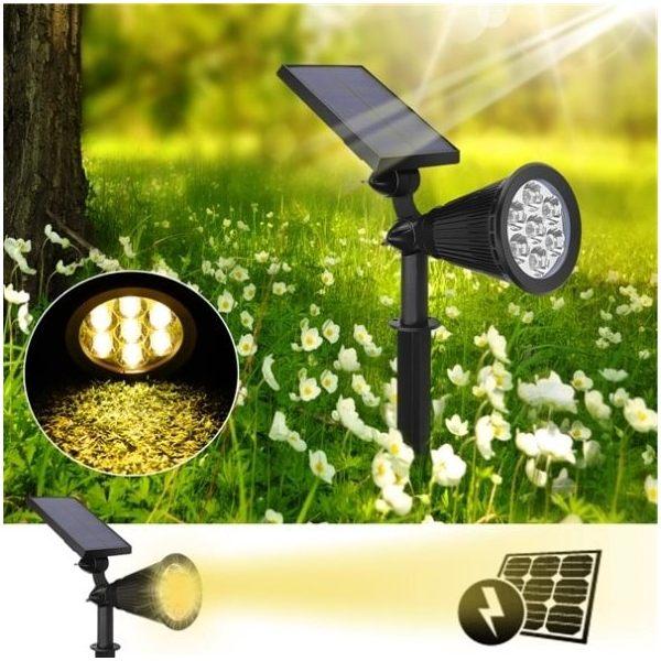 Outdoor Bright 7 LED Solar Spot Light for Garden Lawn Tree Decoration