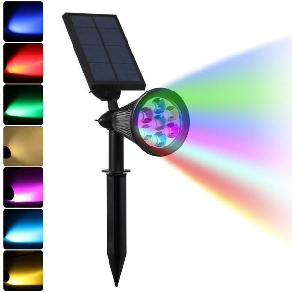 Bright Colour Changing 7 LED Solar Spot Light for Outdoor Garden Decoration