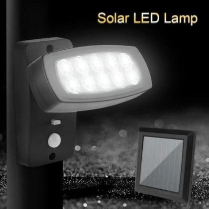 Bright 10 LED Solar Powered Spotlight for Outdoor Security with Sensor
