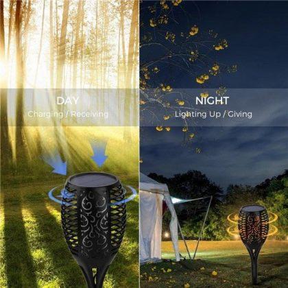 Solar Tiki Path Light 96 LED Flickering Torch for Landscape - Set of 2