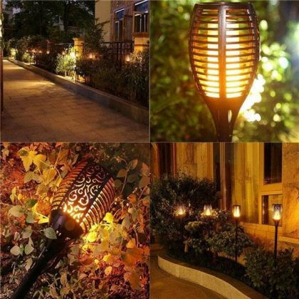 Solar Tiki Path Light 96 LED Flickering Torch for Landscape - Set of 2