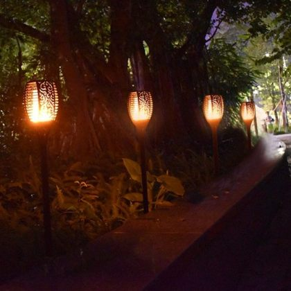 Flickering Tiki Solar Flame Torch 96 LED Outdoor Garden Path Light