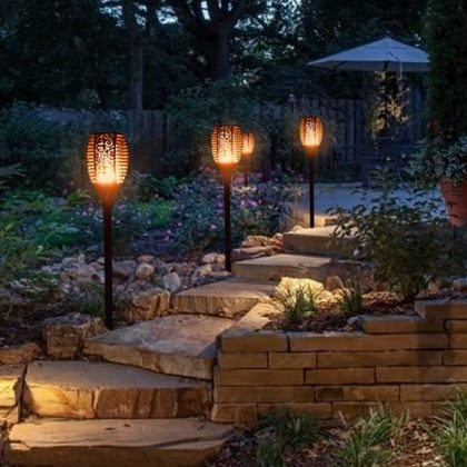 Flickering Tiki Solar Flame Torch 96 LED Outdoor Garden Path Light