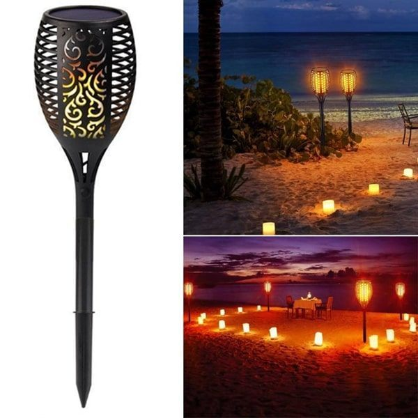 Flickering Tiki Solar Flame Torch 96 LED Outdoor Garden ...