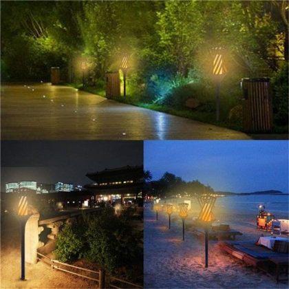 Flickering Solar Flame Light 96 LED Outdoor Pathway Garden Landscape