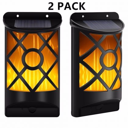Realistic 66 LED Flickering Solar Flame Wall Light for outdoor set of 2