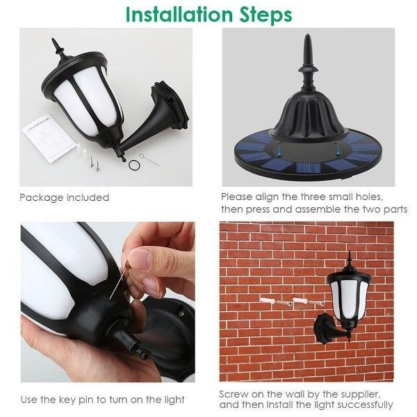 Stylish Outdoor 96 LED Solar Flame Lamp - Wall Flickering