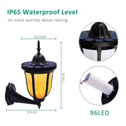 Stylish Outdoor 96 LED Solar Flame Lamp - Wall Flickering Effect Light