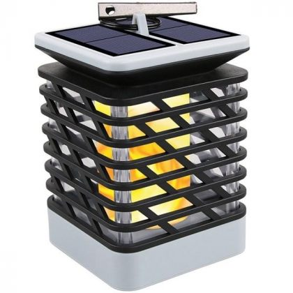 Outdoor 75 LED Solar Flame Lantern - Hanging Light Garden Decoration